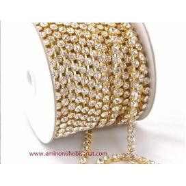 Savarowski Taş Altın 1 Metre 1.Kalite